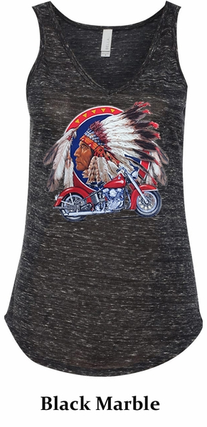 Ladies Biker Tanktop Big Chief Indian Motorcycle Flowy V