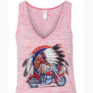 Ladies Biker Tanktop Big Chief Indian Motorcycle Flowy V-neck Tank Top