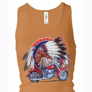 Ladies Biker Tanktop Big Chief Motorcycle Longer Length Racerback Tank