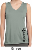 Ladies Black 7 Chakras Bottom Print Sleeveless Moisture Wicking Tee
