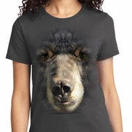 Ladies Black Bear Shirt Big Black Bear Face Tee T-Shirt