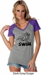 Ladies Black Penguin Power Swim Contrast V-neck