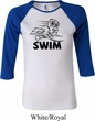 Ladies Black Penguin Power Swim Raglan Shirt