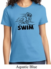 Ladies Black Penguin Power Swim T-shirt