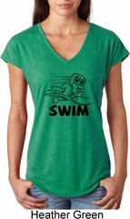 Ladies Black Penguin Power Swim Tri Blend V-neck