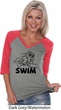 Ladies Black Penguin Power Swim V-neck Raglan