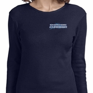 Ladies Blue Dodge Charger Pocket Print Long Sleeve Shirt