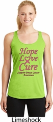 Ladies Breast Cancer Hope Love Cure Dry Wicking Racerback