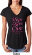 Ladies Breast Cancer Hope Love Cure Tri Blend V-neck
