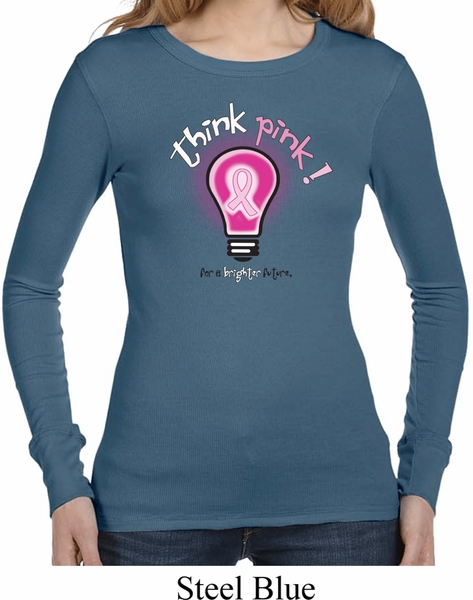Ladies Breast Cancer Shirt Think Pink Long Sleeve Thermal Tee T ...