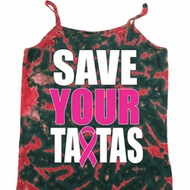 Ladies Breast Cancer Tanktop Save Your Tatas Tie Dye Camisole Tank Top