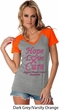 Ladies Breast Cancer Tee Hope Love Cure Contrast V-neck