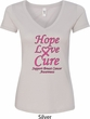 Ladies Breast Cancer Tee Hope Love Cure V-Neck