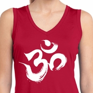Ladies Brushstroke Aum Sleeveless Moisture Wicking Tee
