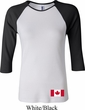 Ladies Canada Tee Canadian Flag Bottom Print Raglan Shirt