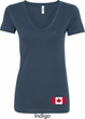Ladies Canada Tee Canadian Flag Bottom Print V-Neck