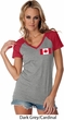 Ladies Canada Tee Canadian Flag Pocket Print Contrast V-neck