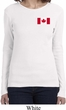 Ladies Canada Tee Canadian Flag Pocket Print Long Sleeve