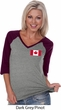 Ladies Canada Tee Canadian Flag Pocket Print V-neck Raglan
