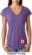 Ladies Canadian Flag Bottom Print Tri Blend V-neck