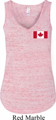 Ladies Canadian Flag Pocket Print Flowy V-neck Tank Top
