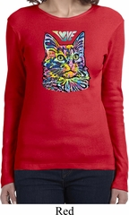 Ladies Cat Tee Love Cat Long Sleeve Shirt