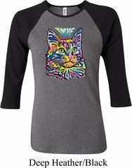 Ladies Cat Tee Love Cat Raglan Shirt