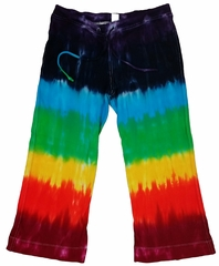 Ladies Chakra Colors Tie Dye Capri Pants
