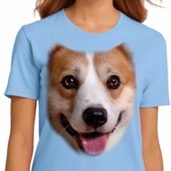 Ladies Corgi Shirt Big Corgi Face Organic T-Shirt