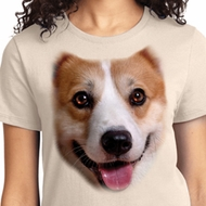 Ladies Corgi Shirt Big Corgi Face Tee T-Shirt