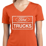 Ladies Distressed Ford Trucks Moisture Wicking V-neck Shirt