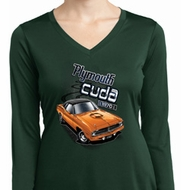 Ladies Dodge 1970 Plymouth Hemi Cuda Dry Wicking Long Sleeve Shirt