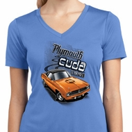 Ladies Dodge 1970 Plymouth Hemi Cuda Moisture Wicking V-neck Shirt