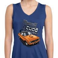 Ladies Dodge 1970 Plymouth Hemi Cuda Sleeveless Dry Wicking Shirt