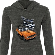 Ladies Dodge 1970 Plymouth Hemi Cuda Tri Blend Hoodie Shirt