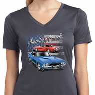 Ladies Dodge American Muscle Blue and Red Moisture Wicking Vneck Shirt