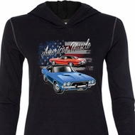Ladies Dodge American Muscle Blue and Red Tri Blend Hoodie Shirt