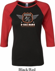 Ladies Dodge Garage Hemi Black Red Raglan Shirt