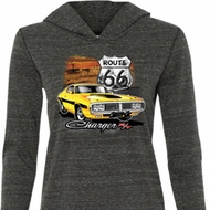 Ladies Dodge Route 66 Charger RT Tri Blend Hoodie Shirt