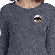 Ladies Dodge Scat Pack Logo Pocket Print Long Sleeve Shirt