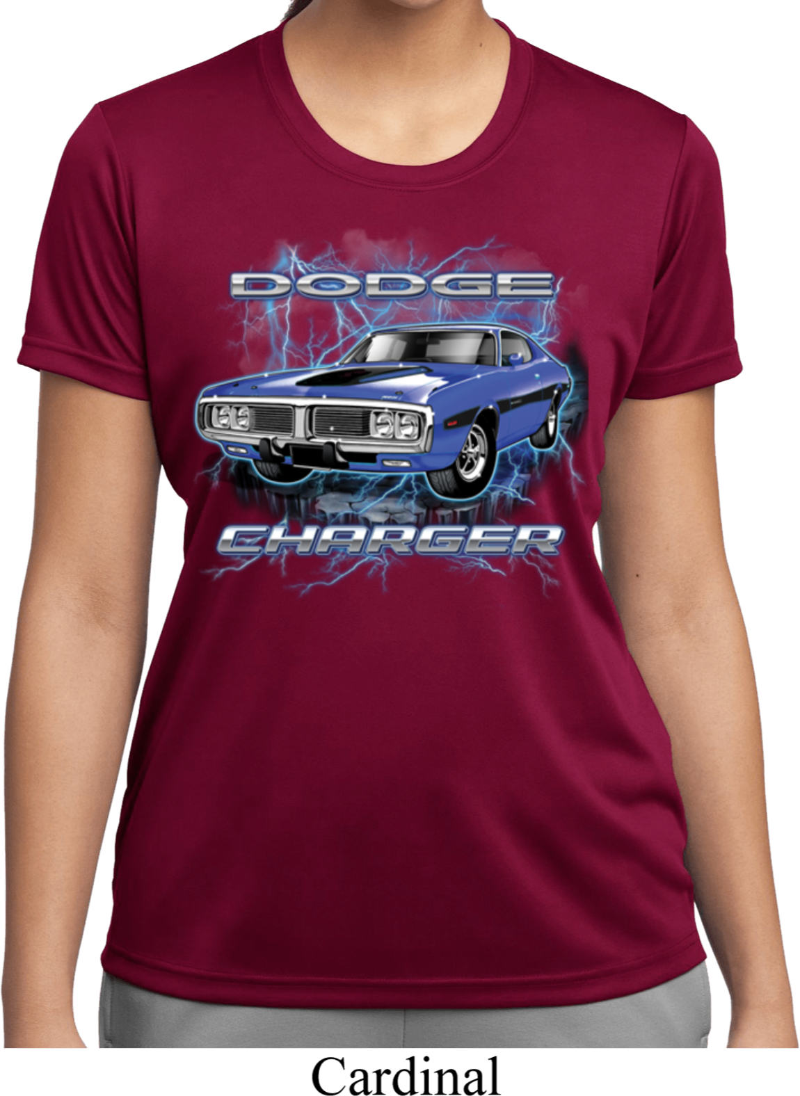 Ladies dodge shirt blue dodge charger moisture wicking tee for Sweat wicking t shirts