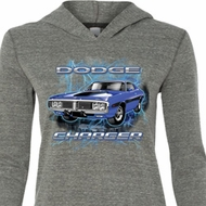 Ladies Dodge Shirt Blue Dodge Charger Tri Blend Hoodie Tee T-Shirt