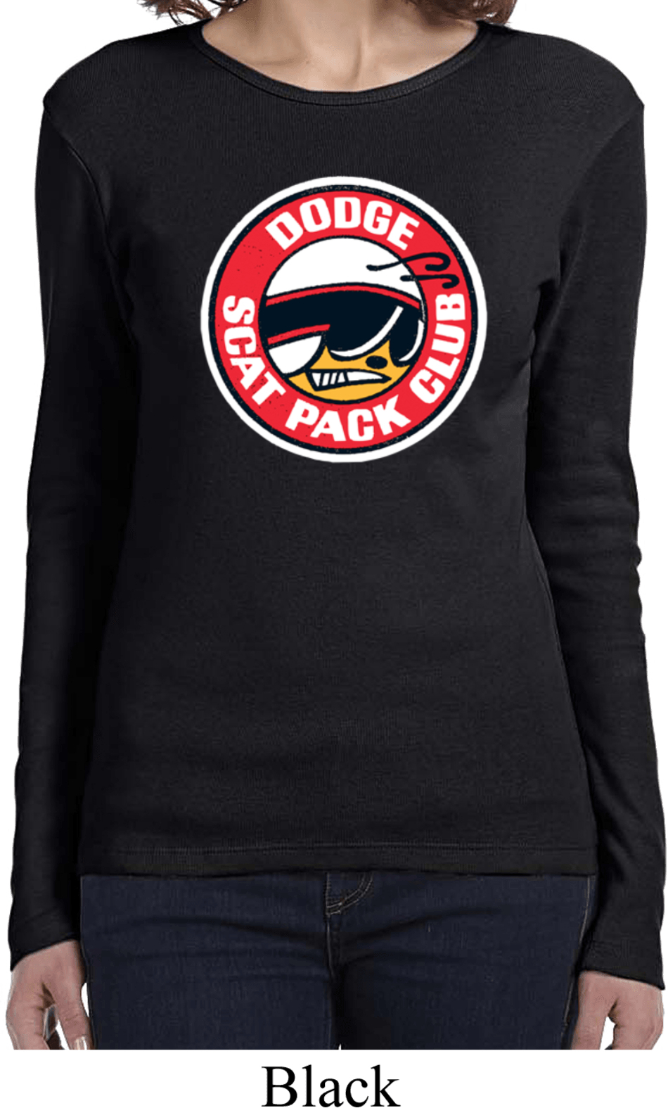 Ladies dodge shirt dodge scat pack club long sleeve tee t for T shirts for clubs