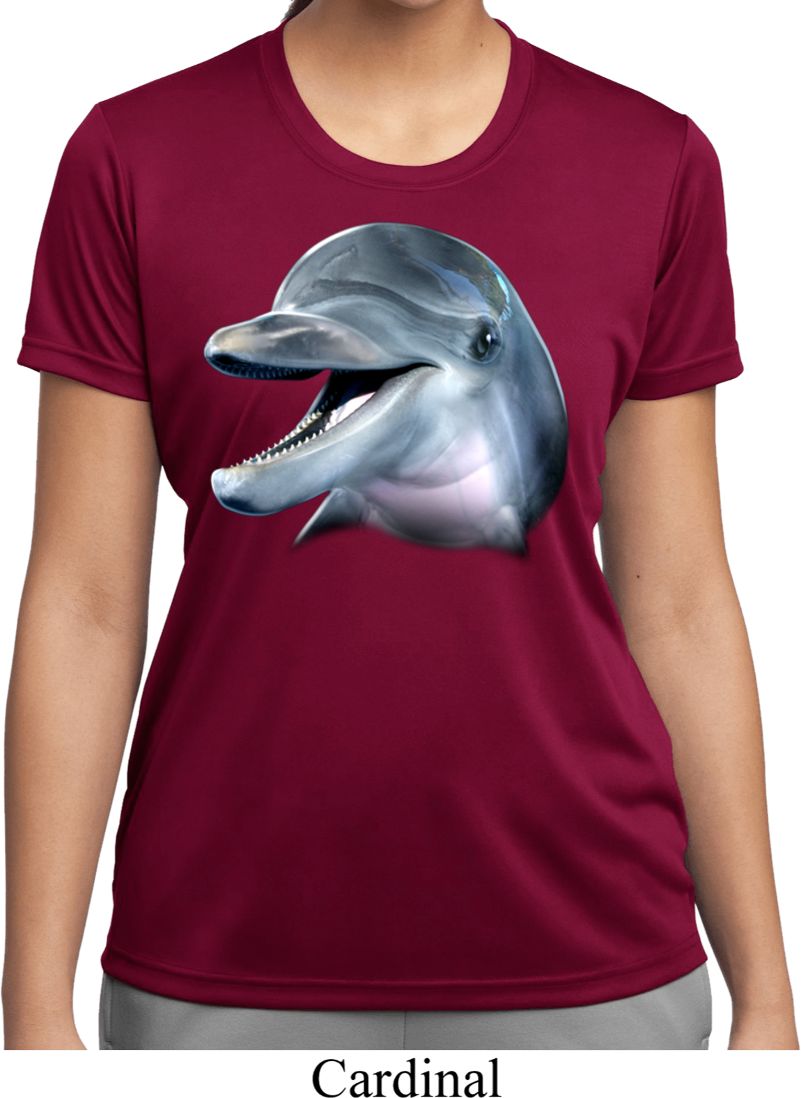 Ford Mustang Hats >> Ladies Dolphin Shirt Big Dolphin Face Moisture Wicking Tee ...