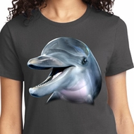 Ladies Dolphin Shirt Big Dolphin Face Tee T-Shirt