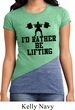 Ladies Fitness Shirt I Rather Be Lifting Tri Blend Crewneck Tee