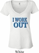 Ladies Fitness Shirt I Work Out Burnout V-neck Tee T-Shirt