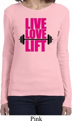 Ladies Fitness Shirt Live Love Lift Long Sleeve Tee T-Shirt
