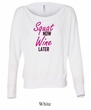 Ladies Fitness Shirt Squat Now Wine Later Off Shoulder Tee T-Shirt