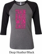 Ladies Fitness Shirt Train Hard Win Easy Raglan Tee T-Shirt